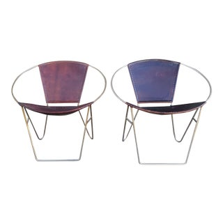 Modern Geometric Leather Chairs - A Pair For Sale