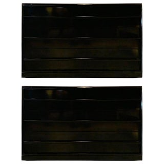 Pair of Mid Cent. Ebony Lacquered Robsjohn-Gibbings Three Drawer Chests/Commodes For Sale
