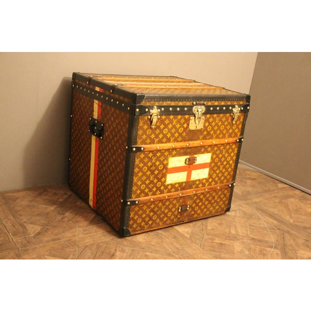 Art Deco Louis Vuitton Cube Steamer Trunk For Sale - Image 3 of 13