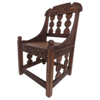 Hand Carved Arts & Crafts Gothic Revival Chair Signed and Dated 1903 For Sale