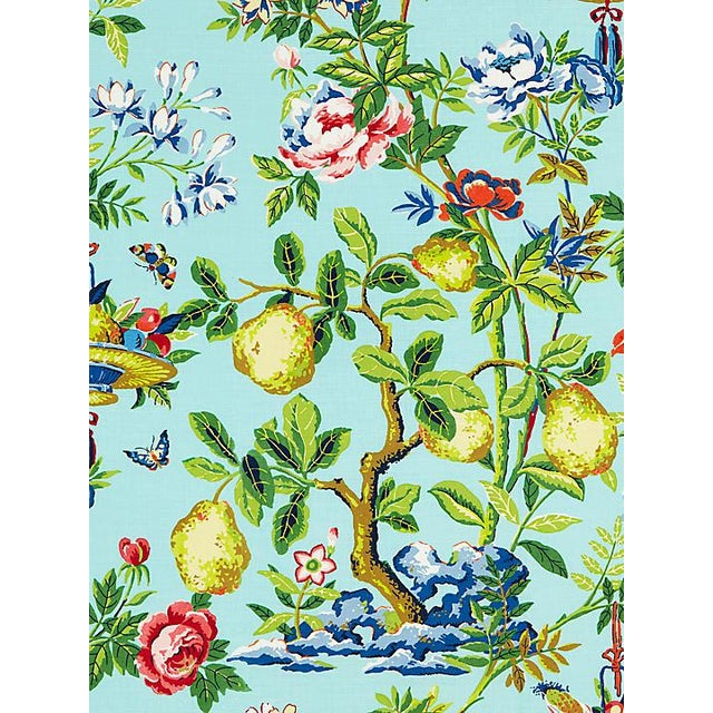 Chinoiserie Sample, Scalamandre Shantung Garden, Aquamarine Fabric For Sale - Image 3 of 3