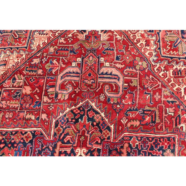 1950s Vintage Persian Heriz Red Medallion Rug - 8′ × 11′9″ For Sale - Image 11 of 13