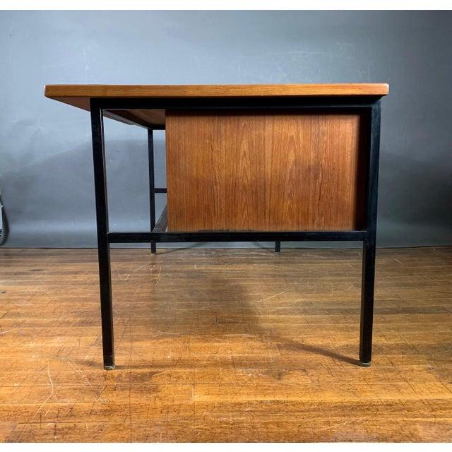 1970s Mid-Century Teak & Black Lacquer 7-Drawer Desk For Sale - Image 5 of 11