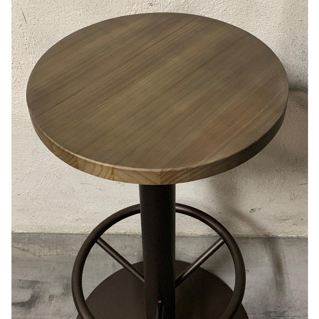 New Round Folding Bistro Table With Wood Top & Iron Base For Sale - Image 4 of 7