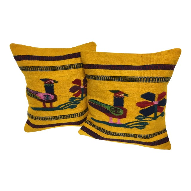 Boho Chic Hand Woven Wool Pillows - A Pair - Image 1 of 4