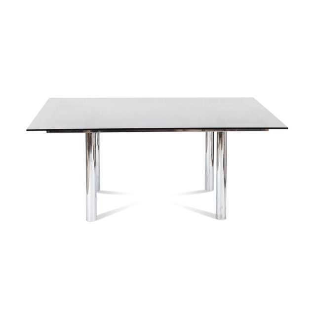 1970s Tobia Scarpa Large Square Chrome Dining Table for Knoll Model André For Sale - Image 5 of 8