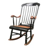 Image of 20th Swedish Style Rocking Chair With Woven Seat and Black Painted For Sale