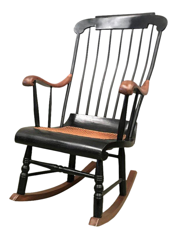 20th Swedish Style Rocking Chair With Woven Seat And Black Painted For Sale