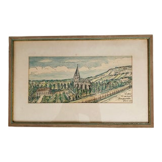 1940s Framed Swedish Borgund Church Expressionist Style Pen and Ink Print For Sale