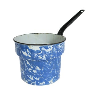 Vintage Blue and White Marbled Enamel Graniteware Double Boiler Insert Pot Saucepan With Long Black Handle For Sale