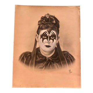"""Aunt Gertrude Was a Kiss Fan"" Contemporary Redrawing of Mid 19th Century Photograph by Chris Heck For Sale"