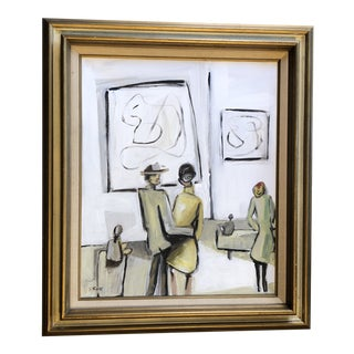 Original Contemporary Stewart Ross Modernist Abstract Museum Series Painting Vintage Frame For Sale