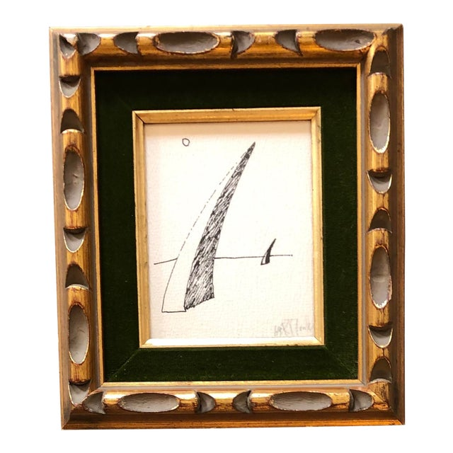 Vintage Original Robert Cooke Miniature Abstract Ink Drawing Signed For Sale