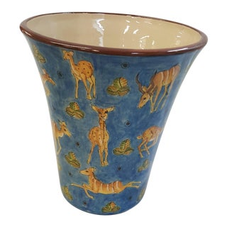 Modern Zimbabwean Colorful Ceramic Vessel For Sale