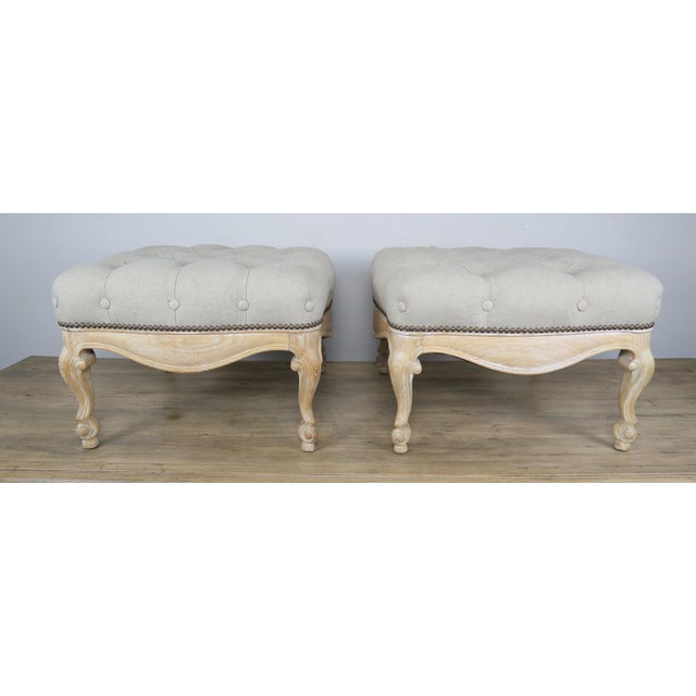 Gold Pair of French Belgium Linen Tufted Benches For Sale - Image 8 of 8