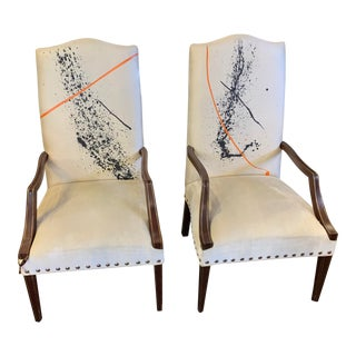 1980s Traditional Style Chairs With Hand Painting- A Pair For Sale