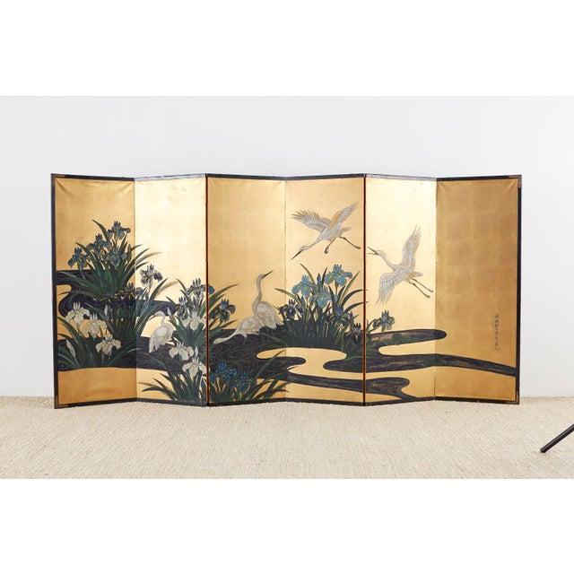 Japanese Six-Panel Meiji Screen of Egrets on Gold Leaf For Sale - Image 11 of 13