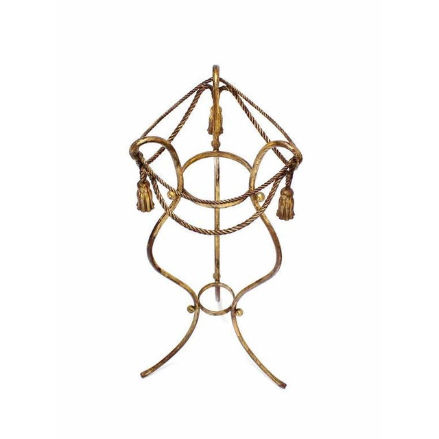 Early 20th Century Decorative Midcentury Italian Gilt Metal Rope and Tassel Plant Stand Planter For Sale - Image 5 of 6