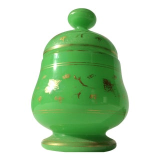 Green Opaline Jar With Gilt Decoration For Sale