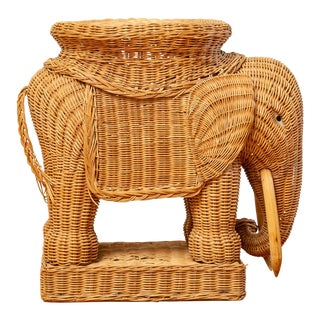 Vintage Woven Rattan Elephant Side Table / Stool For Sale
