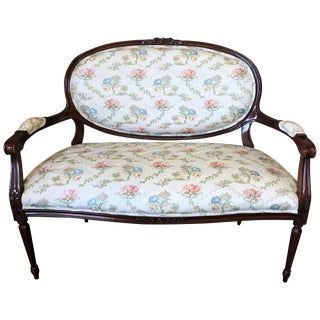Classic Fruitwood Loveseat by Henredon With Lovely Floral Upholstery For Sale