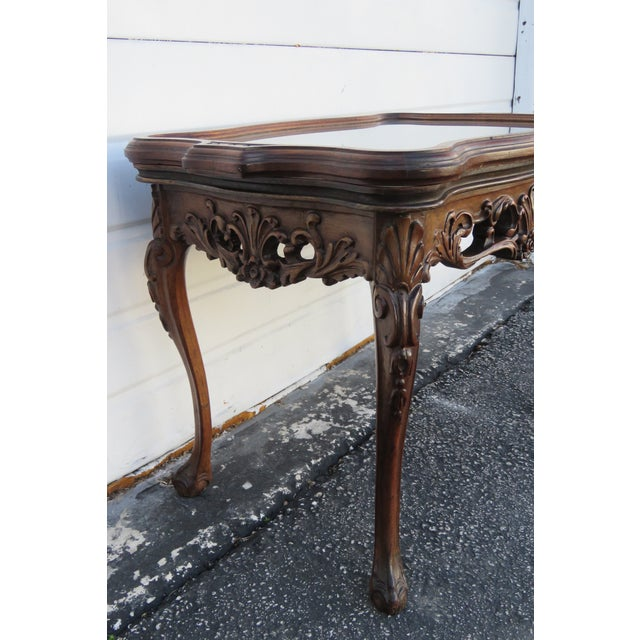 Early 1900s Hand Carved Violin Inlay Coffee Table With Serving Glass Tray For Sale - Image 4 of 12