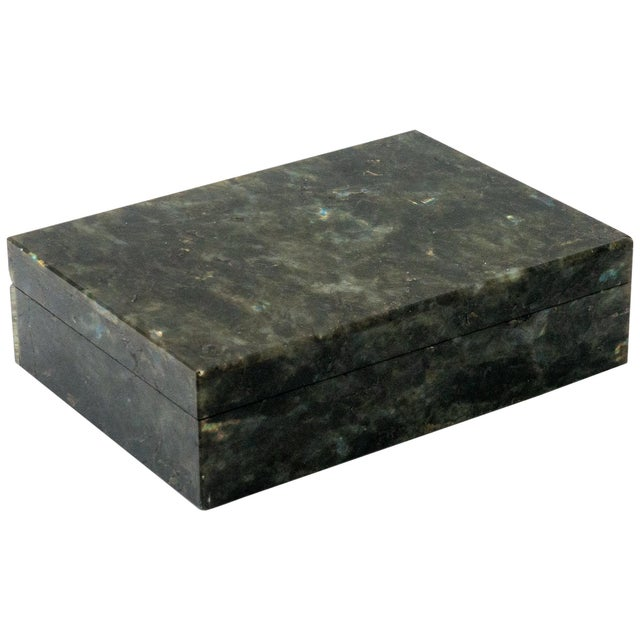 Stone Labradorite Semi Precious Stone Box with Hinged Lid For Sale - Image 7 of 7