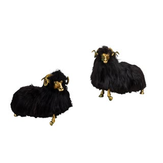 Bronze and Fur Sheep Sculptures - a Pair For Sale
