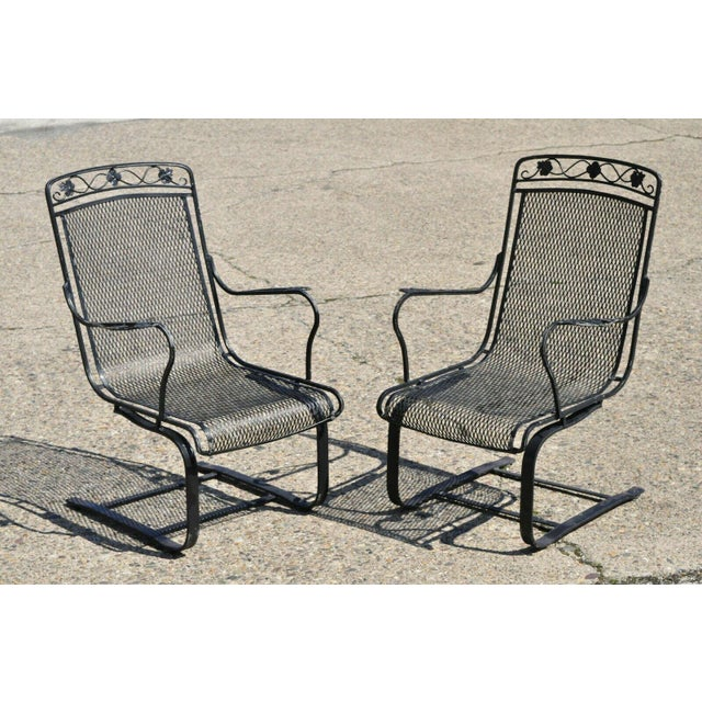 Vintage Mid Century oodard Wrought Iron Patio Bouncer Lounge Arm Chairs- A Pair For Sale - Image 11 of 12
