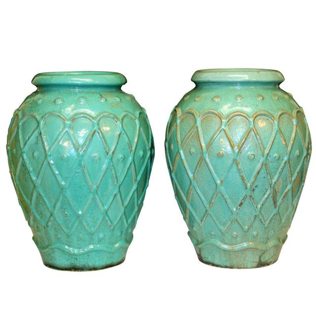 Turquoise Pair of Galloway Terracotta Company Urns For Sale - Image 8 of 8
