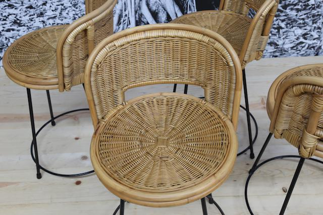 Seng Of Chicago Mid Century Rattan Stools   Set Of 4   Image 3 Of