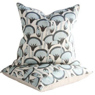 Katie Leede Palm Frond Pillows - A Pair For Sale