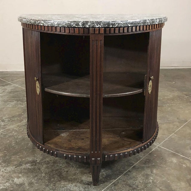 19th Century French Louis XVI ~ Directoire Mahogany Demilune Marble Top Cabinet For Sale In Dallas - Image 6 of 11