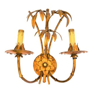 1960s Hollywood Regency Italian Faux Bamboo Gilt Candle Sconce For Sale