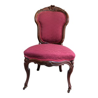 Early 20th Century Victorian Burgundy Upholstered Rosewood Ladies Chair For Sale