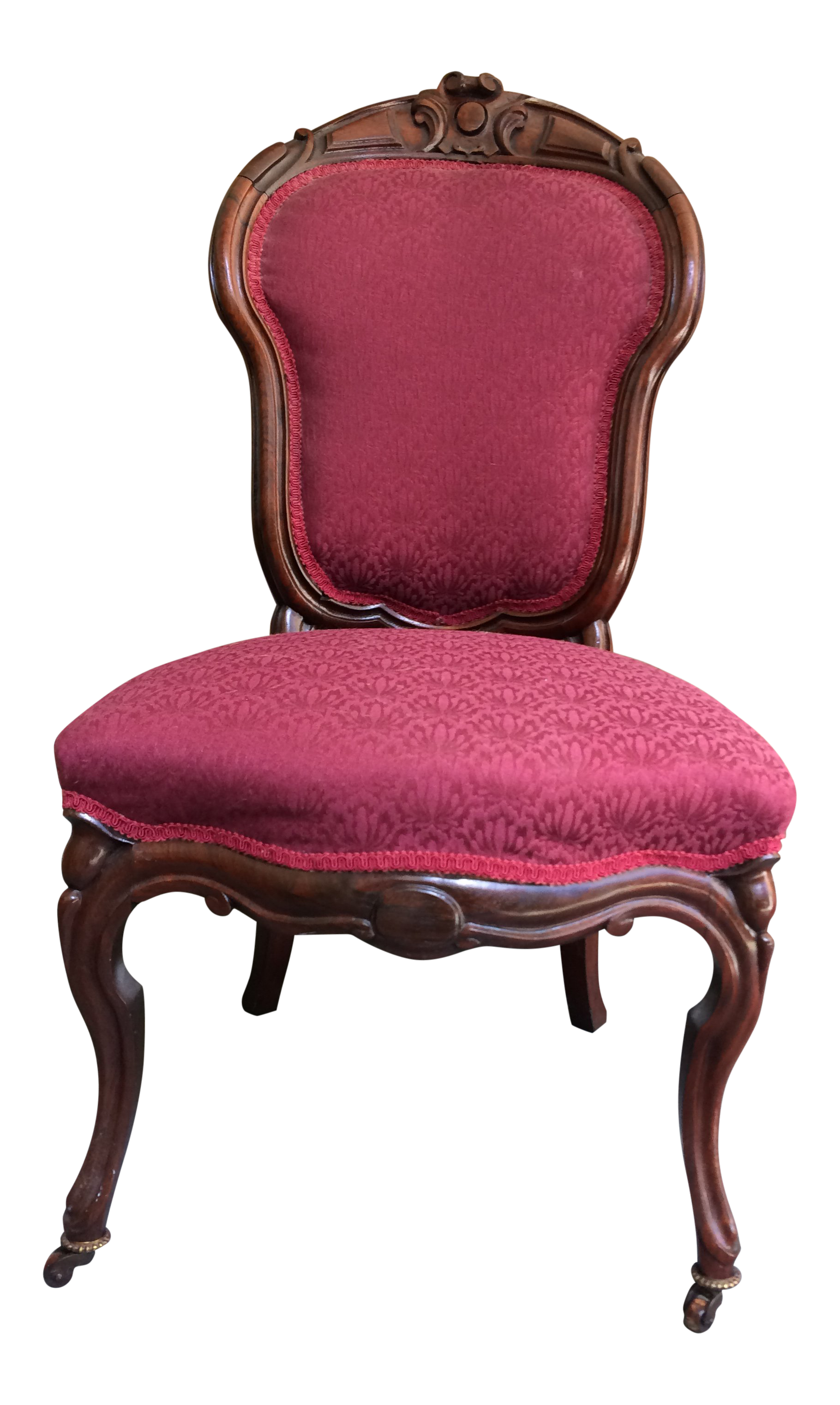 Superbe Early 20th Century Victorian Burgundy Upholstered Rosewood Ladies Chair