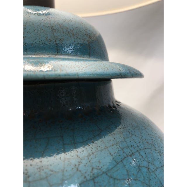 Vintage Turquoise Ceramic Crackle Lamps- a Pair For Sale - Image 4 of 9