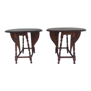 Early 20th Century Vintage Small Drop Leaf Side Tables- A Pair