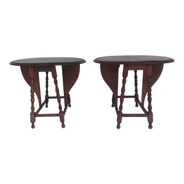 Small Miniature Drop Leaf Side Tables- a Pair Early 20th Century Vintage For Sale