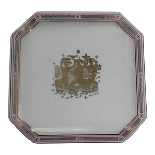 Gold and Pink Decorated Glass Serving Tray 1960s Signed by Georges Briard For Sale