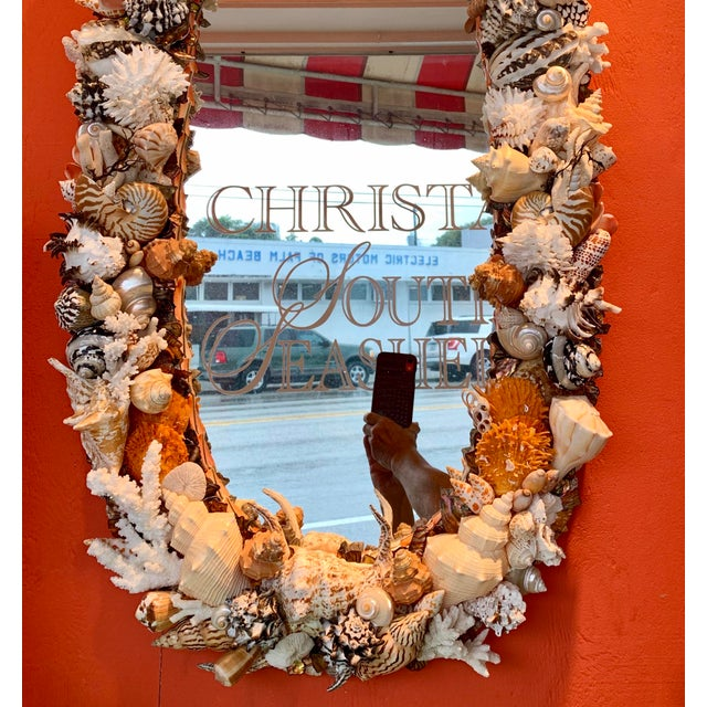 2020s Oval Seashell Encrusted Wall Mirror For Sale - Image 5 of 10