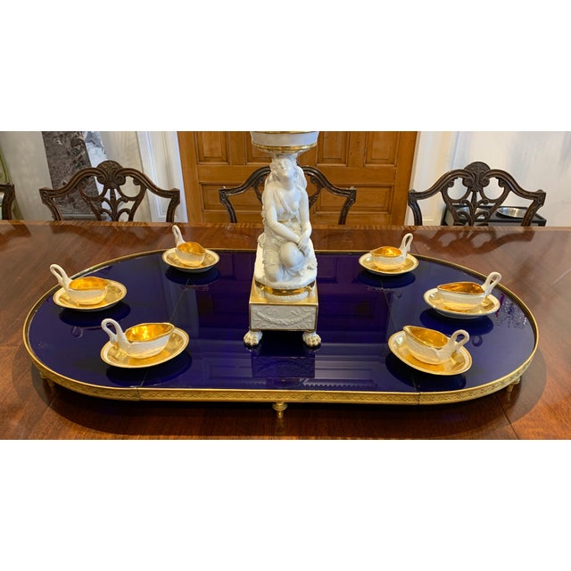 19th century Russian cobalt blue glass and ormolu neoclassical plateau. Also know as a Surtout de table. In three parts so...