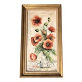 Image of Vintage Original Impressionist Still Life Painting Poppies Signed For Sale