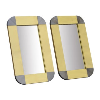 Pair of C. Jere Brushed Brass and Chrome Mirrors For Sale