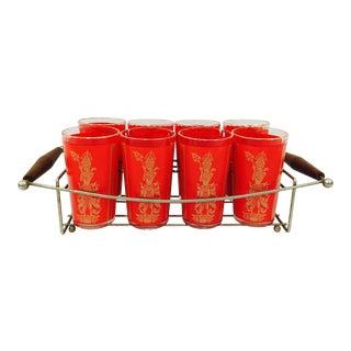 Vintage Cocktail Glasses in Caddy - Set of 9 For Sale
