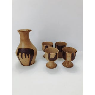 1970s Boho Chic Brown Studio Pottery Pitcher & Cups - Set of 5 Preview