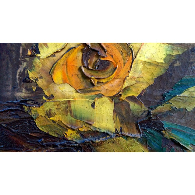 Mid-Century Palette Knife Floral Painting - Image 8 of 10