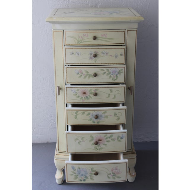 Glass 1950s Cottage Deluxe Tall Jewelry Chest For Sale - Image 7 of 10