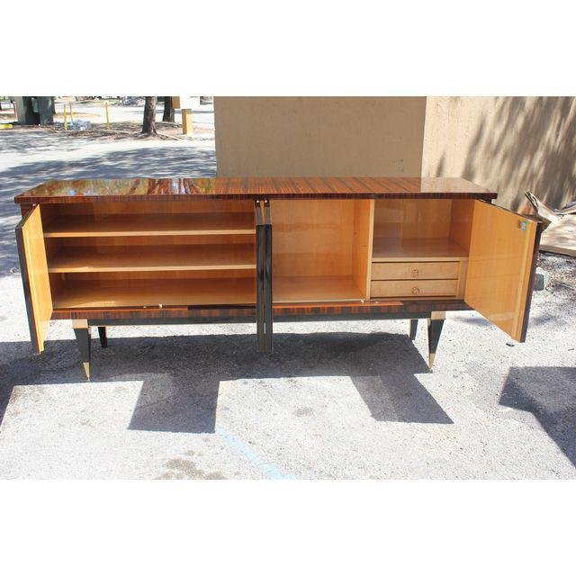 1940s Classic French Art Deco Macassar Ebony Sideboard / Credenza / Buffet Circa 1940s For Sale - Image 5 of 13