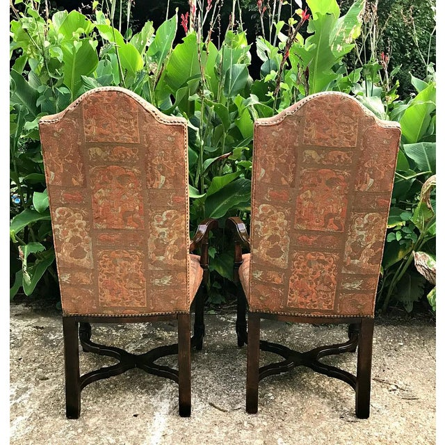 Modern 1980s Modern High Back Side Arm Chairs - a Pair For Sale - Image 3 of 7
